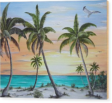 Beach Of Palms Wood Print by Riley Geddings