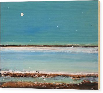 Beach Textures Wood Print by Toni Grote