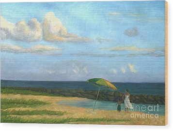 Beach Umbrella Wood Print by Jane  Simonson