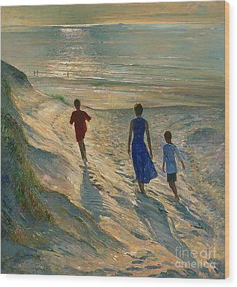 Beach Walk Wood Print by Timothy Easton