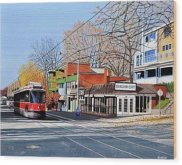 Beacher Cafe Wood Print by Kenneth M  Kirsch