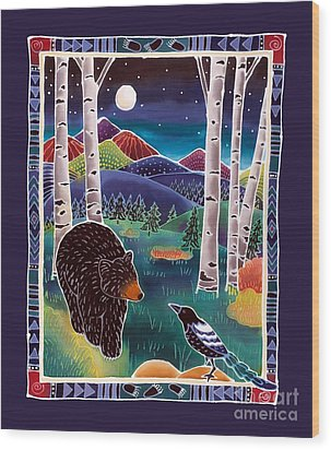 Bear Greets Magpie Wood Print by Harriet Peck Taylor