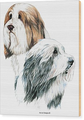 Bearded Collies Wood Print by Kathleen Sepulveda