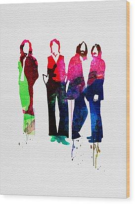 Beatles Watercolor Wood Print by Naxart Studio