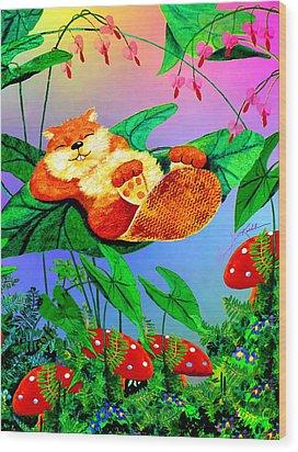 Beaver Bedtime Wood Print by Hanne Lore Koehler