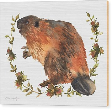 Beaver Painting Wood Print by Alison Fennell