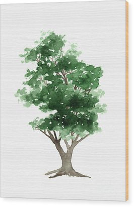Beech Tree Silhouette Watercolor Art Print Painting Wood Print by Joanna Szmerdt
