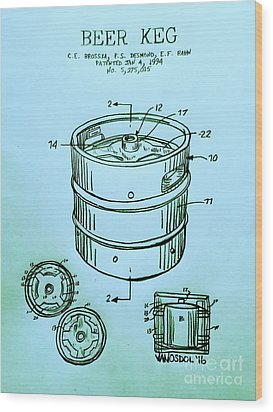 Beer Keg 1994 Patent - Blue Wood Print by Scott D Van Osdol