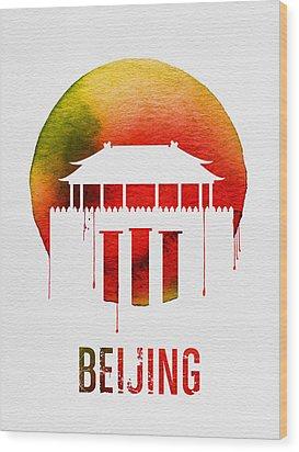 Beijing Landmark Red Wood Print by Naxart Studio