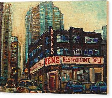 Bens Restaurant Deli Wood Print by Carole Spandau