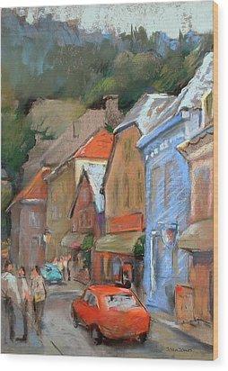Bergen Sentrum Wood Print by Joan  Jones