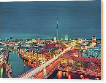Berlin City At Night Wood Print by Matthias Haker Photography