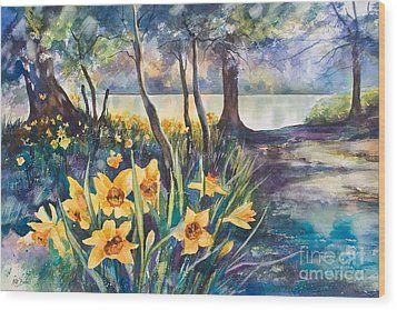 Beside The Lake Beneath The Trees. Wood Print by Kate Bedell
