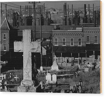 Bethlehem Graveyard And Steel Mill Wood Print by Everett