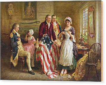 Betsy Ross And General George Washington Wood Print by War Is Hell Store