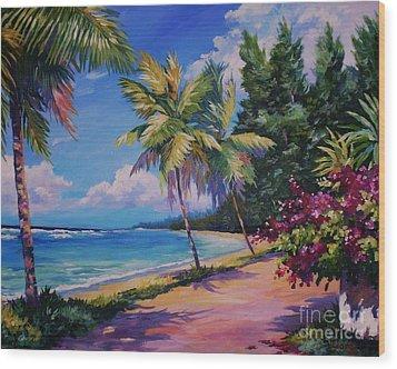 Between The Palms 20x16 Wood Print by John Clark