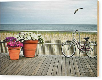 Bicycle On The Ocean City New Jersey Boardwalk. Wood Print by Melissa Ross