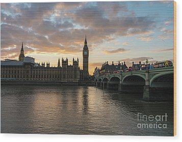 Big Ben London Sunset Wood Print by Mike Reid