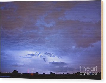 Big Sky With Small Lightning Strikes In The Distance Wood Print by James BO  Insogna