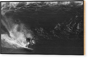 Big Wave Surfing Wood Print by Brad Scott