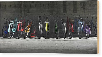 Bike Rack Wood Print by Cynthia Decker