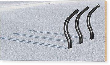 Bike Racks In Snow Wood Print by Steve Somerville