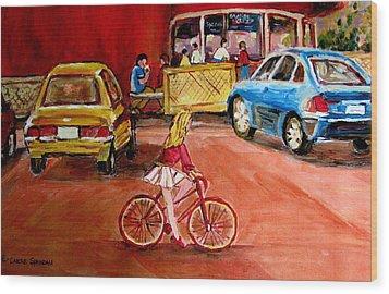Biking To The Orange Julep Wood Print by Carole Spandau