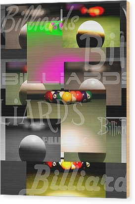 Billiards Wood Print by Andre  Persun