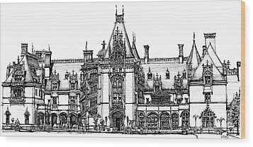 Biltmore House In Asheville  Wood Print by Adendorff Design