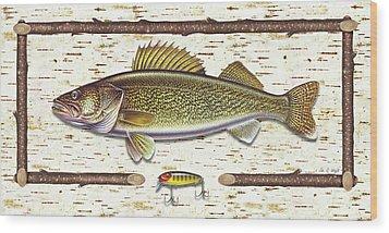 Birch Walleye Wood Print by JQ Licensing