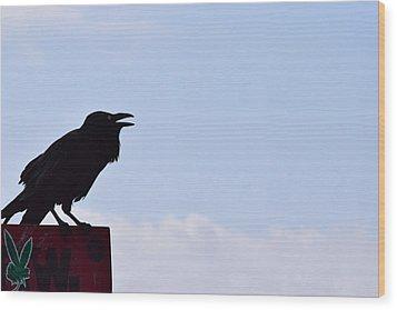 Crow Profile Wood Print by Sandy Taylor