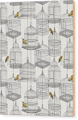 Birdcages Wood Print by Stephanie Davies
