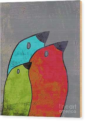 Birdies - V11b Wood Print by Variance Collections