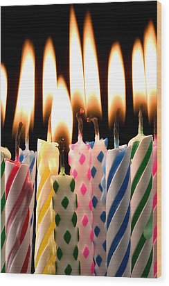 Birthday Candles Wood Print by Garry Gay