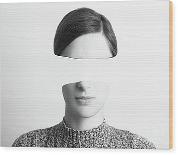 Black And White Abstract Woman Portrait Of Identity Theft Concept Wood Print by Radu Bercan