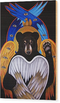 Black Bear Seraphim Wood Print by Christina Miller