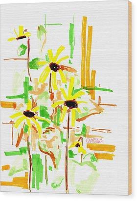 Black Eyed Susans Wood Print by Teddy Campagna
