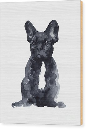Black French Bulldog Watercolor Poster Wood Print by Joanna Szmerdt