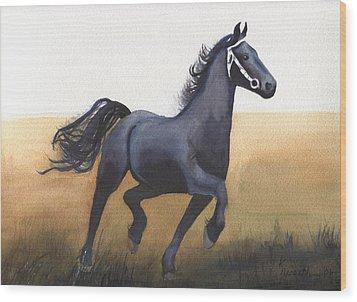 Black Stallion Wood Print by Kathy Nesseth