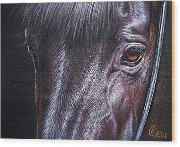 Black Stallion Wood Print by Elena Kolotusha