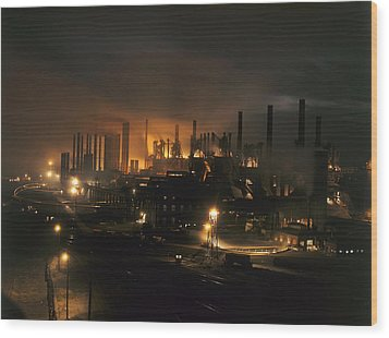 Blast Furnaces Of A Steel Mill Light Wood Print by J Baylor Roberts