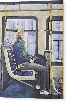 Blonde Girl On 107 Bus Montreal Wood Print by Reb Frost
