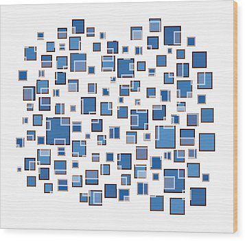 Blue Abstract Rectangles Wood Print by Frank Tschakert