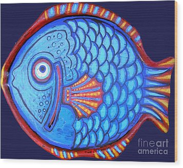 Blue And Red Fish Wood Print by Genevieve Esson