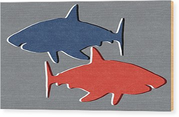 Blue And Red Sharks Wood Print by Linda Woods