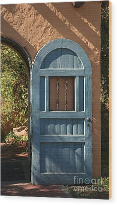 Blue Arch Door Wood Print by Timothy Johnson
