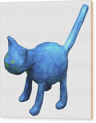 Blue Cat Wood Print by Maria Rosa