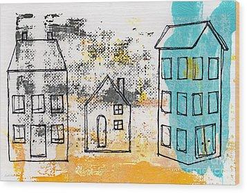 Blue House Wood Print by Linda Woods