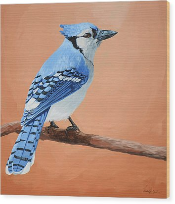 Blue Jay Wood Print by Lesley Alexander