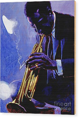 Blue Miles Wood Print by David Lloyd Glover